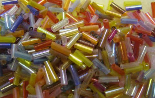 Glass Seed Beads - Bugle beads mixed transparent (50g)